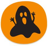 Halloween sticker with spooky ghost. Orange halloween sticker or icon with haunted ghost. Halloween theme clean design Stock Photography
