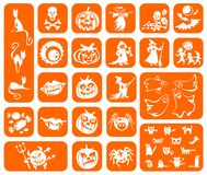 Orange Halloween symbols Royalty Free Stock Photos