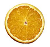 Orange halv frukt skivade isolaten på vit bakgrund royaltyfri bild