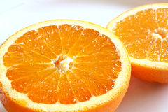 Orange halves. On a white plate Royalty Free Stock Image