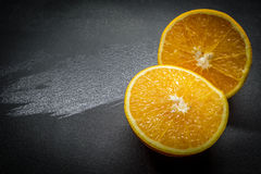 Orange halves. On a plate Stock Photography