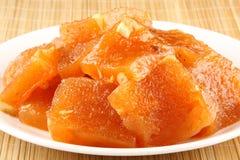 Orange Halwa. Plate of traditional tasty orange halwa Royalty Free Stock Image