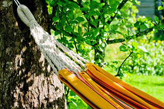 Orange hammock close-up Stock Photo