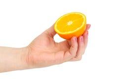 Orange in hand Stock Images