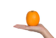 Orange in hand Royalty Free Stock Photos