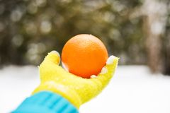 Orange in hand on background of a winter forest royalty free stock images