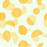 Orange hand drawn citrus fruit silhouettes with transparent layering effect on green pin-striped background. Seamless vector. Pattern. Great for home decor stock illustration