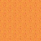 Orange hand drawn halloween pumpkin, jack o'lantern seamless pattern background. Stock Photos