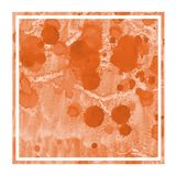 Orange hand drawn watercolor rectangular frame background texture with stains. Modern design element stock photo