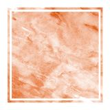 Orange hand drawn watercolor rectangular frame background texture with stains. Modern design element stock illustration