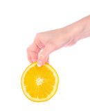 Orange in hand isolated Royalty Free Stock Photo