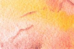 Orange hand målad vattenfärgbakgrund Royaltyfria Bilder