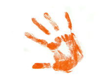 Orange hand print. Isolated over white background Royalty Free Stock Photo