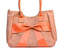 The orange handbag. Modern design fashion handbag on white background stock images