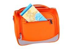 Orange handbag with map Royalty Free Stock Photo
