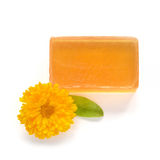 Orange handmade glycerin soap on white. Royalty Free Stock Photos