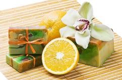 Orange handmade soap Royalty Free Stock Photo