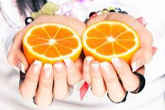 Orange in hands Royalty Free Stock Photography