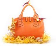 Orange handväska Royaltyfri Fotografi