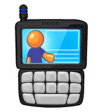 Orange Handy des Mann-PDA Stockbild