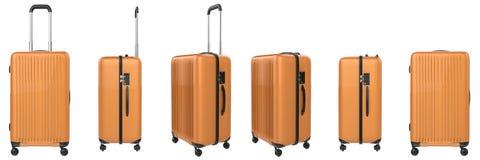 Orange hard case luggage isolated on white Royalty Free Stock Photography