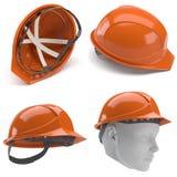 Orange hard hat.3d. Royalty Free Stock Photos