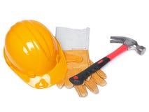Orange HardHat Hammer And Leather Gloves Royalty Free Stock Photo