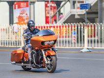 Orange Harely Davidson Road Glide, Beijing, China stock image