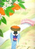 woman wth orange harvest water colour painting Stock Photos