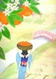 woman wth orange harvest water colour painting stock photos