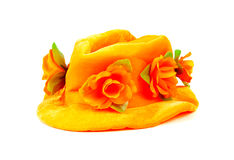 Orange hat with big flowers Stock Photo