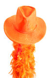 orange hat and boa as tipical accessories on the Koningsdag in Amsterdam. The Netherlands. Royalty Free Stock Images