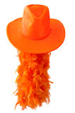 Orange hat and boa as tipical accessories on the Koningsdag in Amsterdam. The Netherlands. Royalty Free Stock Photography