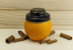 Orange hat fresh juicy natural on wooden background Royalty Free Stock Photos