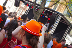 Orange hat in King's day Stock Photography