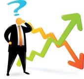 Orange Hauptsuit_confuse über Diagramm Stockfotos