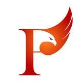 Orange Hawk Initial P för vektor logo arkivfoton