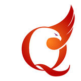 Orange Hawk Initial Q för vektor logo Royaltyfria Bilder