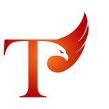 Orange Hawk Initial T för vektor logo Royaltyfri Bild