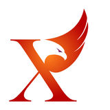 Orange Hawk Initial X för vektor logo Royaltyfri Foto