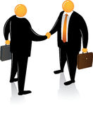 Orange Head Handshake Stock Image