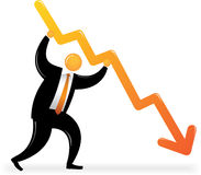 Orange Head holding downtrend chart Stock Image