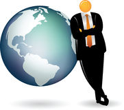 Orange Head Leaning on Globe Earth Royalty Free Stock Photography