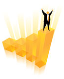 Orange Head Man on the Bar Chart Royalty Free Stock Image