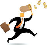 Orange Head Man Chasing Dollar Royalty Free Stock Photos