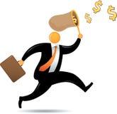 Orange Head Man Chasing Dollar. Orange Head running chasing flying dollar Royalty Free Stock Photos