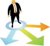 Orange Head Man Choosing Direction. Orange Head Man with black suit Choosing Direction Royalty Free Stock Images