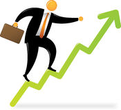 Orange Head Man Climbing Chart Stock Images