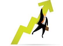 Orange Head Man Going Up stock illustration