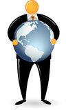 Orange Head Man Holding Globe Royalty Free Stock Photo